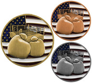 Boxing Patriotic Medal - Gold, Silver or Bronze | Engraved Red, White & Blue Pugilism Medallion | 2.75 Inch Wide