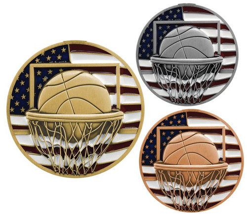 Basketball Patriotic Medal - Gold, Silver or Bronze | Engraved Red, White & Blue Hoops Medallion | 2.75 Inch