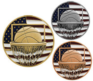 Basketball Patriotic Medal - Gold, Silver and Bronze | Engraved Red, White & Blue Hoops Medallion | 2.75 Inch