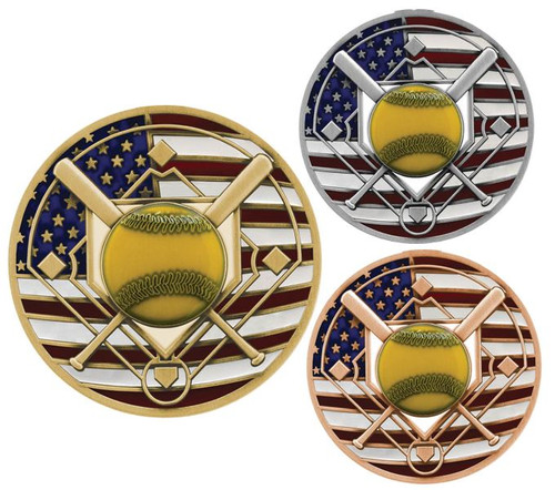 Softball Patriotic Medal - Gold, Silver or Bronze | Engraved Red, White & Blue Slow Pitch Medallion | 2.75 Inch Wide