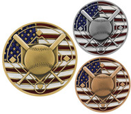 Baseball Patriotic Medal - Gold, Silver and Bronze | Engraved Red, White & Blue Baseball Medallion | 2.75 Inch Wide