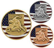 Wrestling Patriotic Medal - Gold, Silver or Bronze | Engraved Red, White & Blue Wrestler Medallion | 2.75 Inch Wide