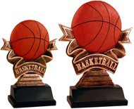 Basketball Ribbon Resin Trophy | Engraved Basketball Award - 5.5 & 7 Inch Tall - Clearance