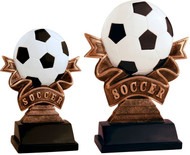 Soccer Ribbon Resin Trophy | Engraved Fútbol Award - 5.5 & 7 Inch Tall - Clearance