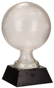 Basketball Glass  Award - Black Marble Base | 7 and 13 Inch Sizes