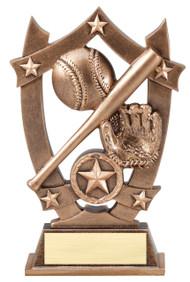 Baseball / Softball 3D Gold Sport Stars Trophy | Engraved Star Baseball Player Award | Slow Pitch Trophy - 6.25 Inch