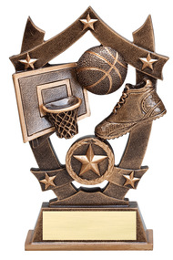 Basketball 3D Gold Sport Stars Trophy | Star Hoops Player Award | 6.25 Inch
