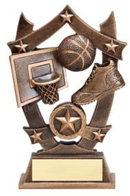 Basketball 3D Gold Sport Stars Trophy | Star Hoops Player Award | 6.25 Inch