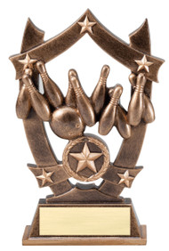 Bowling 3D Gold Sport Stars Trophy | Star Bowler Award | 6.25 Inch