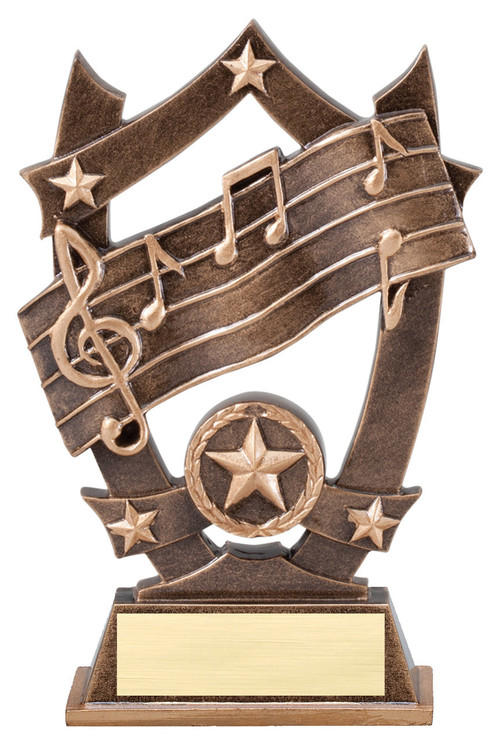 Music 3D Gold Sport Stars Trophy | Star Singing Voice Award | 6.25 Inch