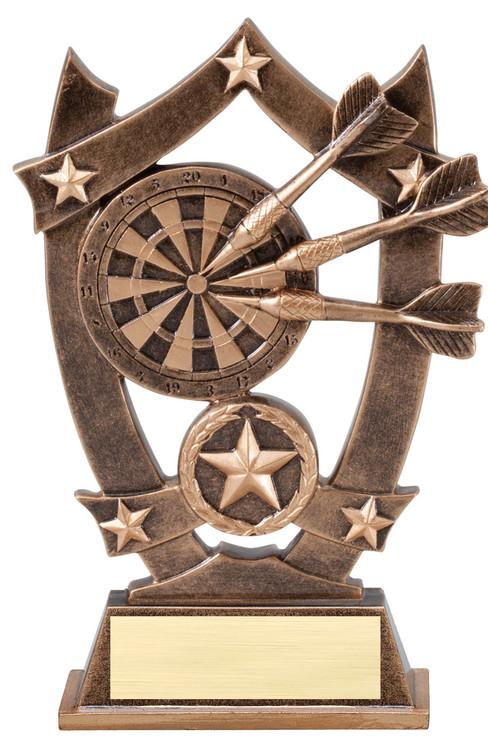 Darts 3D Gold Sport Stars Trophy | Star Bullseye Award | 6.25 Inch