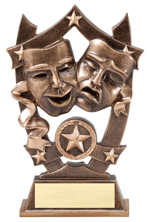 Drama 3D Gold Sport Stars Trophy | Star Best Actor Actress Award | 6.25 Inch