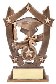 Graduate 3D Gold Sport Stars Trophy | Star Commencement Award | 6.25 Inch