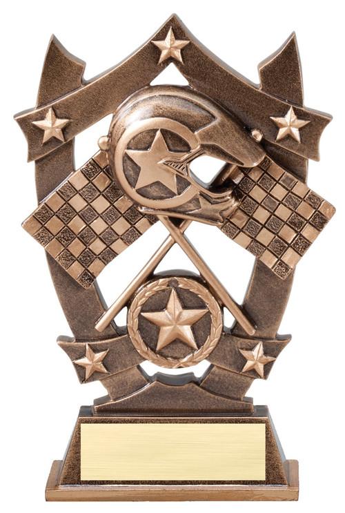 Racing 3D Gold Sport Stars Trophy | Star Motocross NASCAR Award | 6.25 Inch