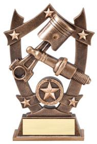 Spark Plug 3D Gold Sport Stars Trophy | Engraved Star Mechanic Award - 6.25 Inch