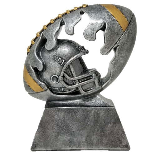 Football and Helmet Flame Cut Out Trophy | Silver Fantasy Football Award | 6 Inch