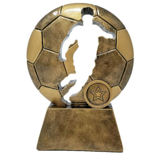 "Soccer Ball Player Cut Out Trophy | Fútbol Award - 6.5"""