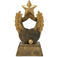 """Ping Pong Trophy   Engraved Gold Table Tennis Wreath Award - 6.5"""""""