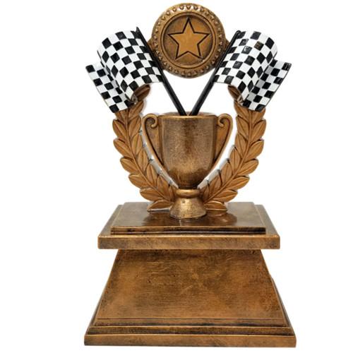 "Racing Checkered Flag Trophy   Derby Wreath Award - 7"""