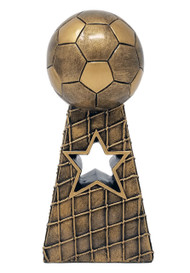 Soccer Gold Tower Trophy   Soccer Net and Ball Award   Fútbol Star Award     8 and 10.5 Inch