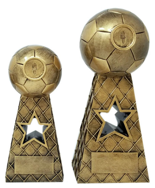 Soccer Gold Tower Trophy | Soccer Net and Ball Award | Fútbol Star Award  |  8 and 10.5 Inch
