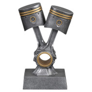 Double Piston Trophy / Automotive Award - Silver with Gold Accents