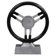 Steering Wheel Trophy / Automotive Award - Black & Silver Finish - 8.75 Inch Tall