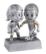 Soccer Double Bobblehead Trophy - Female | Fútbol Award