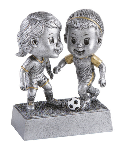 Soccer Double Bobblehead Trophy - Female | Fútbol Award - Clearance