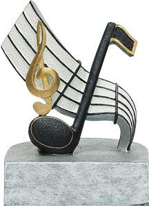 "Music Color Tek Trophy   Musical Note Award   Band or Choir Trophies - 4"""