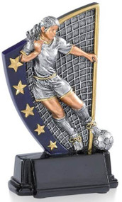 Soccer Color 5 Star Trophy - Female / Female Futbol Award | 5.875 Inch - Clearance
