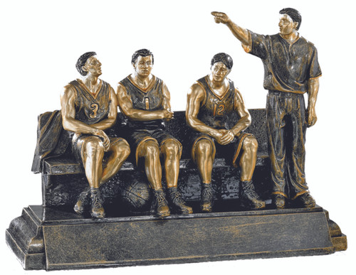 "Basketball TEAM BENCH Trophy | Basketball Coach Award | 7.75"" x 9.75"" - Clearance"