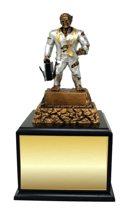 Business / Salesman Monster Perpetual Trophy | Engraved Sales Perpetual Award - 13 Inch Tall - Black Base