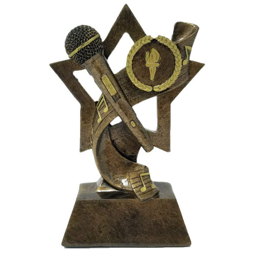 Microphone Trophy - Gold  | Karaoke - DJ - Announcer - Mic Award - 6""