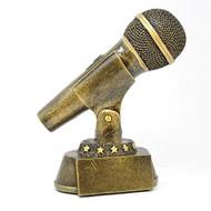 Microphone Trophy - Gold | Karaoke Singer DJ Announcer Mic Award | 7 Inch