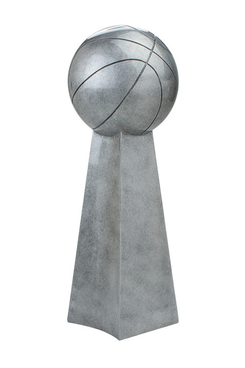 Basketball Silver Tower Trophy | Hoops 3-on-3 League Championship Award | 14 Inch