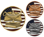 Academic Patriotic Engraved Medal – Gold, Silver and Bronze | Red, White and Blue Scholastic Award | 2.75 Inch Wide