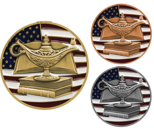 """Academic Patriotic Medal - Gold, Silver or Bronze   Engraved Red, White & Blue Scholastic Medallion - 2.75"""" Wide"""