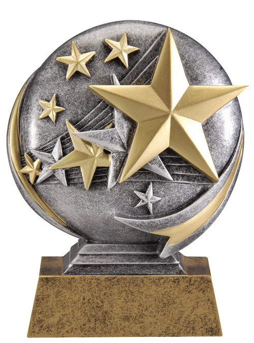 "Stars Motion Extreme 3D Trophy | Gold Star Award - 5"" Tall"