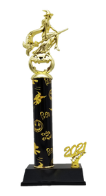 Witch and Pumpkin Halloween Trophy | Engraved Bewitched Pumpkin Queen Award - 15 Inch