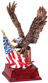 Eagle with American Flag Award | Patriotic Bronze Eagle Trophy | 9.25 Inch Tall