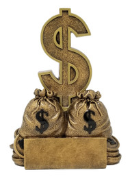 Dollar Sign Trophy | Sales or Fundraising Award | Gold Bag of Money Prize - 6""