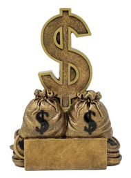 "Dollar Sign Trophy | Engraved Sales or Fundraising Award | Gold Bag of Money Prize - 6"""