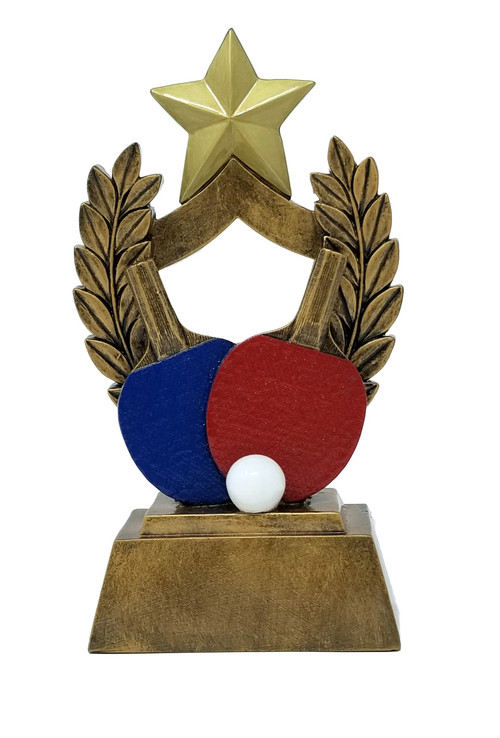 Ping Pong Trophy | COLORED Paddles Table Tennis Award - 6.5""