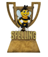 """Spelling Bee Trophy   Engraved Gold Spelling B Cup Award   Academic Prize - 6"""""""