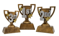 1st, 2nd or 3rd Place Gold Cup Trophy | Engraved 3D Gold Cup Place Award - 5, 6 or 7 Inch Tall