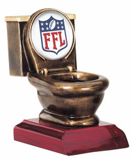 Fantasy Football Toilet Bowl Classic Shield Trophy | FFL Loser Award | 5 Inch Tall