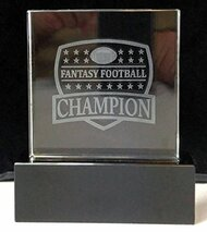 Fantasy Football 3D Shield Crystal Trophy | 3D FFL Champion Award on a Black Crystal Base | 5.5 Inch Tall