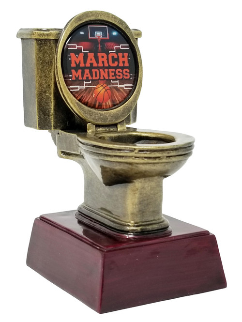 Basketball March Madness Gold Toilet Bowl Trophy | Broken Bracket Golden Throne Last Place Award | 6 Inch Tall