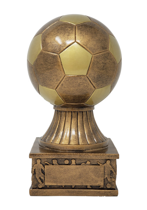 Soccer Ball Action Pedestal Trophy ⚽ Engraved Gold Fútbol Award - 7.5 Inch Tall